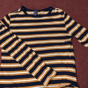 Forever 21 Striped Cropped Long Sleeve Shirt